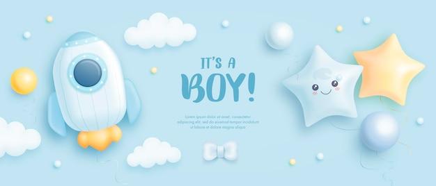 È uno sfondo per la doccia del bambino del ragazzo