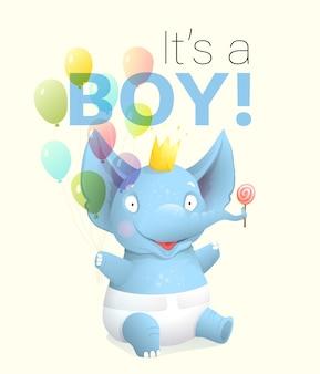 È un biglietto di auguri per ragazzo con elefantino che festeggia il compleanno. simpatico personaggio animale neonato con palloncini e pannolini, allegro e felice. fumetto artistico realistico di vettore 3d per eventi per bambini.