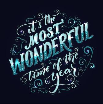 È il periodo più meraviglioso dell'anno con scritte e turbinii di calligrafia biglietto di auguri vintage