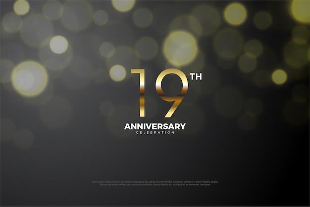 Il suo diciannovesimo anniversario con una figura marrone dorato e una piccola ombra