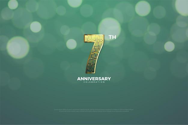 Settimo anniversario con effetto glitter dorato