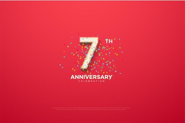 È il settimo anniversario con numeri e schizzi di doodle
