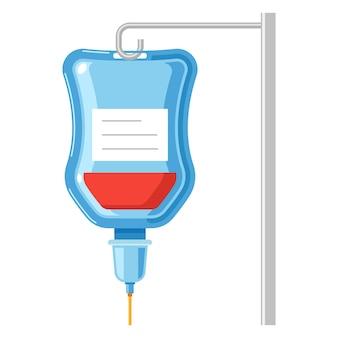 Sacca iv con icona del fumetto di vettore di sangue isolato su uno sfondo bianco.
