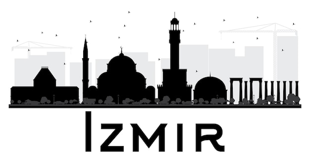 Siluetta in bianco e nero dell'orizzonte della città di izmir. semplice illustrazione piatta per presentazione turistica, banner, cartellone o sito web. concetto di viaggio d'affari. paesaggio urbano con punti di riferimento