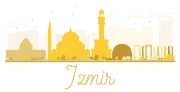 Siluetta dorata dell'orizzonte della città di izmir. semplice illustrazione piatta per presentazione turistica, banner, cartellone o sito web. concetto di viaggio d'affari. paesaggio urbano con punti di riferimento.