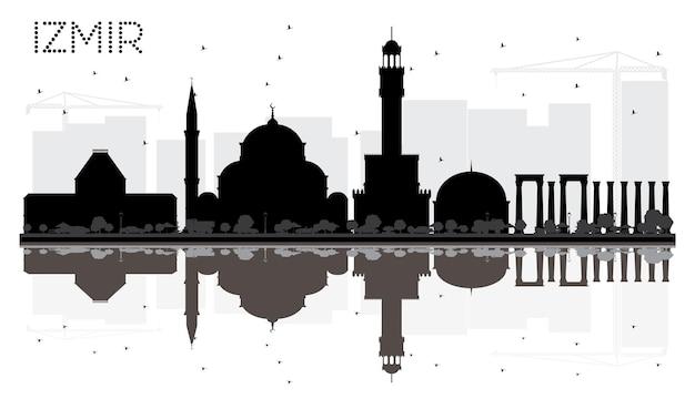Izmir turchia skyline della città in bianco e nero silhouette con riflessi. concetto di viaggio d'affari. paesaggio urbano di izmir con punti di riferimento.