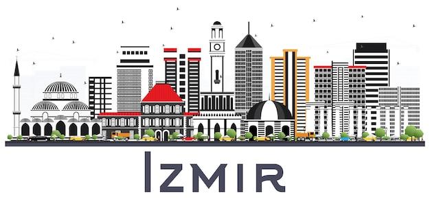 Orizzonte della città di izmir turchia con edifici di colore isolati su bianco. paesaggio urbano di izmir con punti di riferimento.