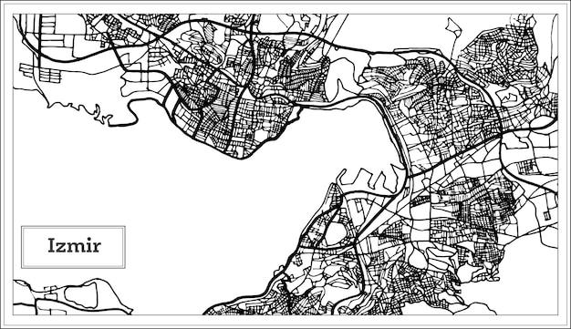 Izmir turchia mappa in bianco e nero a colori. illustrazione di vettore. mappa di contorno.