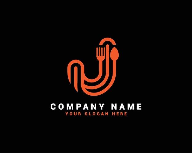 Logo della lettera di cibo j, logo della lettera del cucchiaio j, set di logo della lettera di cibo, alfabeto del cibo