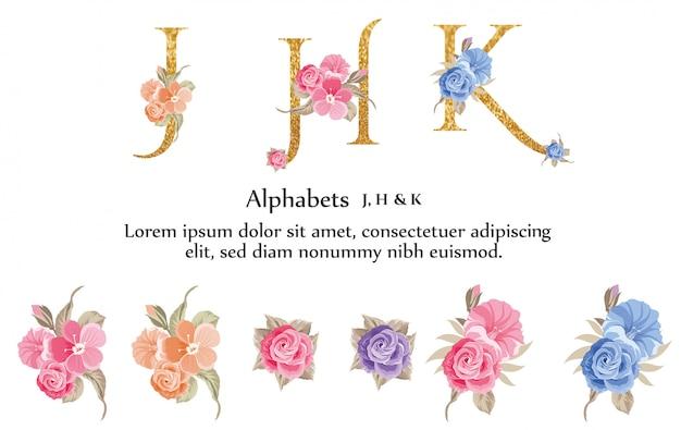 J, k, h, alfabeto con fiore