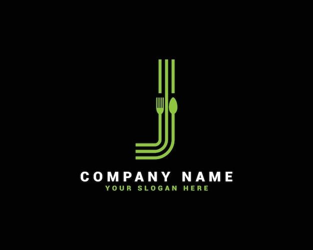 Logo della lettera j, logo della lettera del cibo j, logo della lettera del cucchiaio j