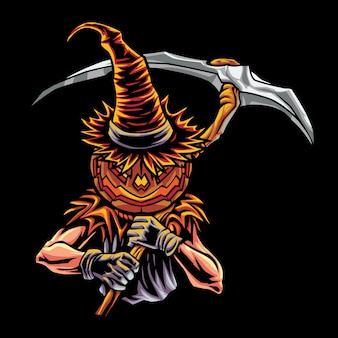 Jack o'lantern esport logo illustrazione