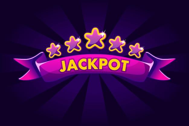 Jackpot banner background per lotteria o casinò, slot icone di gioco con nastro e stelle