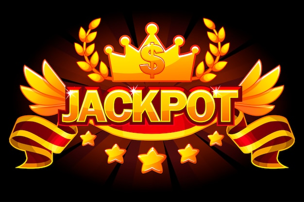 Banner del jackpot. etichetta del casinò con corona e nastro rosso premio. premi del vincitore del jackpot del casinò con testo e nastro dorati. oggetti su livelli separati.