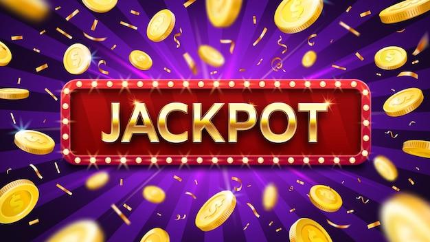 Banner jackpot con monete d'oro che cadono e coriandoli. modello pubblicitario del casinò o della lotteria. vincere denaro, premio nel gioco d'azzardo. congratulazioni con illustrazione vettoriale di dollari Vettore Premium