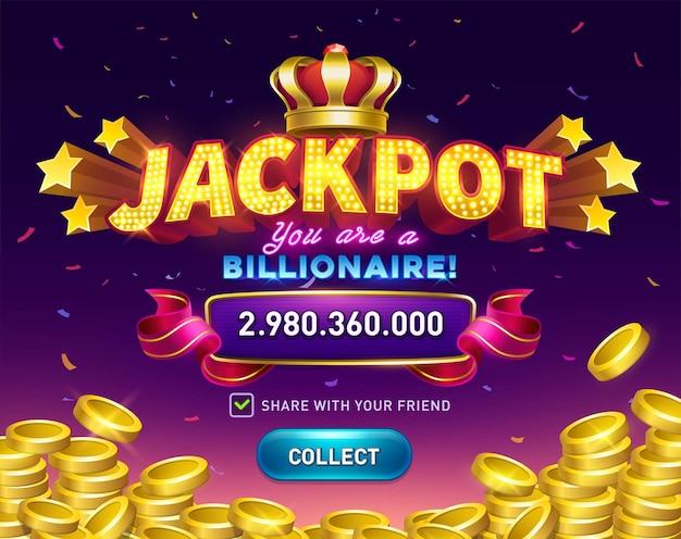 Sfondo di slot del casinò jackpot con monete d'oro e coriandoli