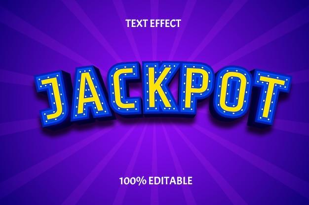 Effetto di testo modificabile colore giallo blu jackpot