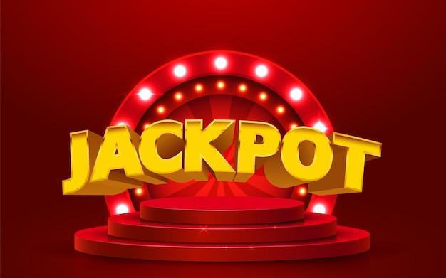 Concetto di casinò di grande vittoria dell'insegna di lusso del jackpot