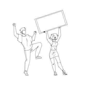 Jackpot vincere denaro fortunato ragazzo e ragazza coppia linea nera disegno a matita vettore. giovane uomo che balla e donna che tiene assegno, celebrando la vittoria del jackpot. personaggi che vincono il premio nell'illustrazione del gioco d'azzardo