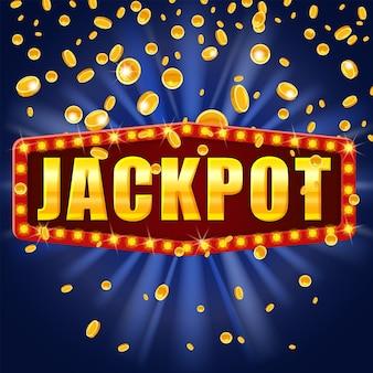 Jackpot vincitore banner brillante segno retrò illuminato da faretti che cadono monete.