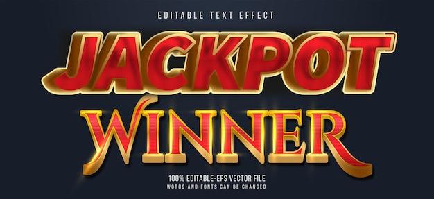 Effetto testo vincitore del jackpot