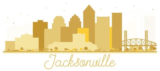 Siluetta dorata dell'orizzonte della città di jacksonville florida usa.