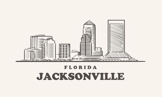 Schizzo disegnato sullo skyline di jacksonville, florida