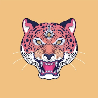 Illustrazione di opere d'arte testa di giaguaro