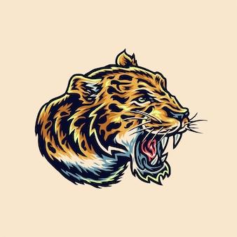 Stile di linea disegnata a mano di vista laterale della testa di giaguaro con illustrazione di colore digitale