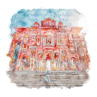 Illustrazione disegnata a mano di schizzo dell'acquerello di jaipur india