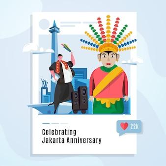 Illustrazione di celebrazione tradizionale dell'anniversario di jakarta sul modello di social media