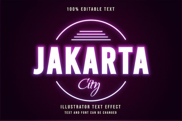 Città di jakarta, stile di testo al neon viola con gradazione rosa effetto testo modificabile