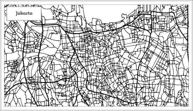 Mappa della città di giacarta indonesia in colore bianco e nero. mappa di contorno. illustrazione di vettore.