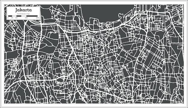 Mappa della città di giacarta indonesia in stile retrò. mappa di contorno. illustrazione di vettore.