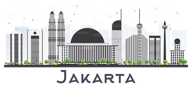 Orizzonte della città di jakarta indonesia con edifici grigi.