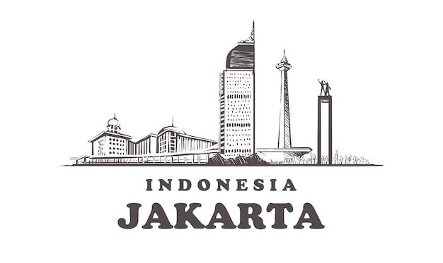 Città di schizzo di jakarta, indonesia