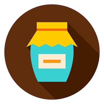 Icona del cerchio di marmellata. illustrazione vettoriale. confettura di stagione alimentare.