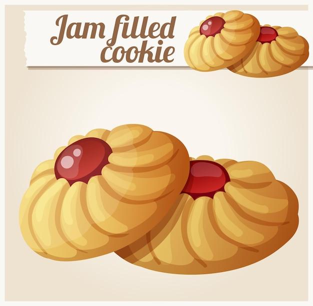 Icona vettoriale dettagliata di biscotto pieno di marmellata