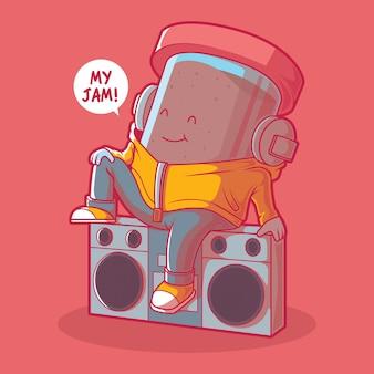 Inceppamento ascoltando musica illustrazione design concept