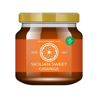 Marmellata di arance. vaso di vetro con marmellata e configurare. raccolta di imballaggi. etichetta per marmellata. banca realistica.