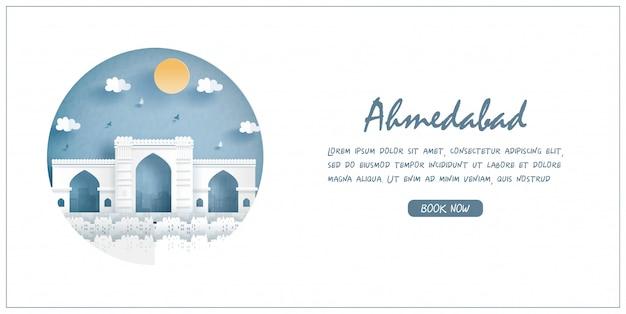 Jama masjid, india. punto di riferimento di fama mondiale. banner di viaggio