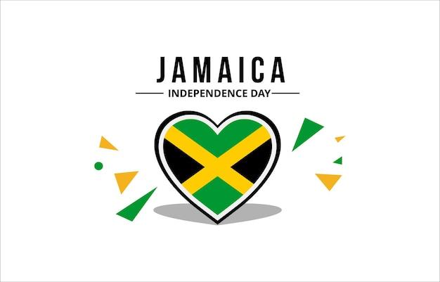 Vettore della bandiera della giamaica con i colori ufficiali nell'ornamento dell'amore