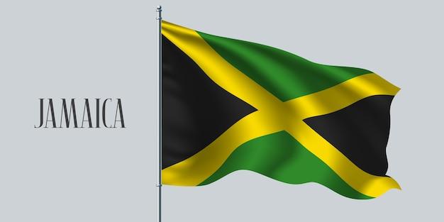 Giamaica sventolando bandiera sul pennone.