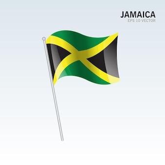 Giamaica sventolando bandiera isolata su gray