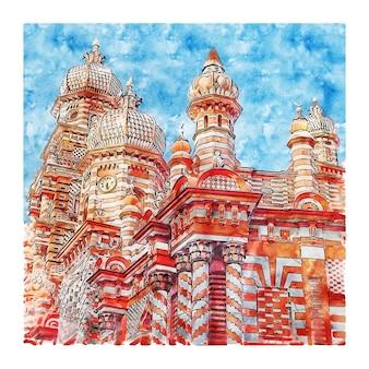 Illustrazione disegnata a mano di schizzo dell'acquerello della moschea di jami ul-alfar sri lanka