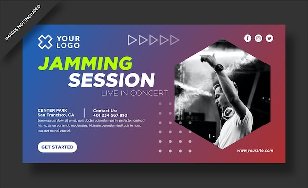 Banner della sessione di jamming e post sui social media