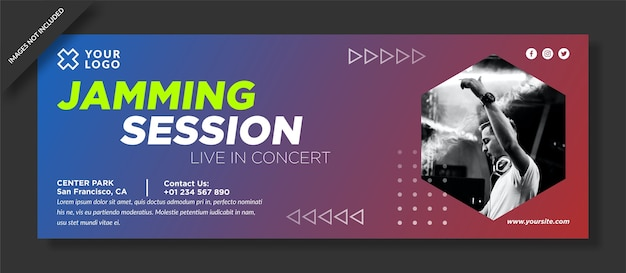 Copertina facebook della sessione di jamming e post sui social media
