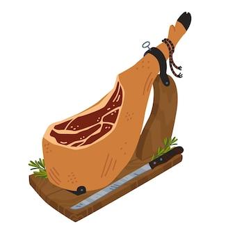 Jamon spagnolo coscia di maiale stagionata con zoccolo nero su jamonera jamon iberico bellota