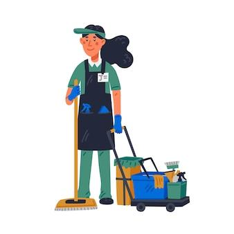 Bidello - bidello femminile in uniforme che tiene mop e carrello di pulizia