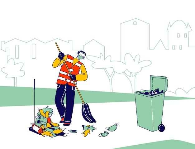 Personaggio maschile bidello in maschera respiratoria e uniforme spazzatura covid spazzatura e rifiuti sulla strada